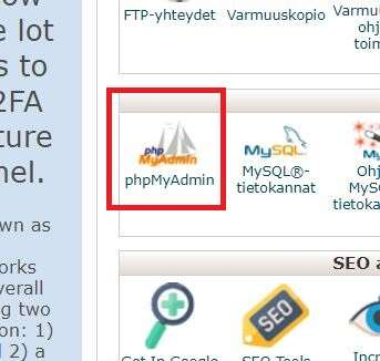 Paasaus phpmyadmin WordPress-salasanan vaihto